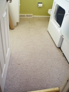 carpeted laundry room