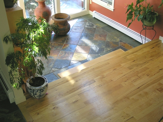 Slate tile in sunroom