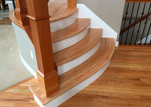 Completed Red Oak Stairs With Shaped Steps